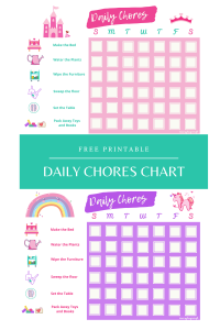 Daily Chores Chart for Girls