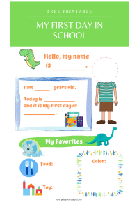 First Day of School Printable for Boys