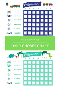 Daily Chores Chart for Boys