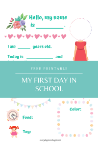 First Day of School Printable for Girls