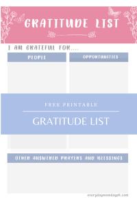 Gratitude List - Printables